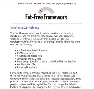 Fat-Free Framework start page
