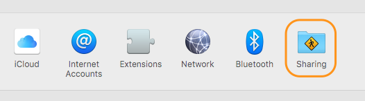 OS X System Preferences - Sharing
