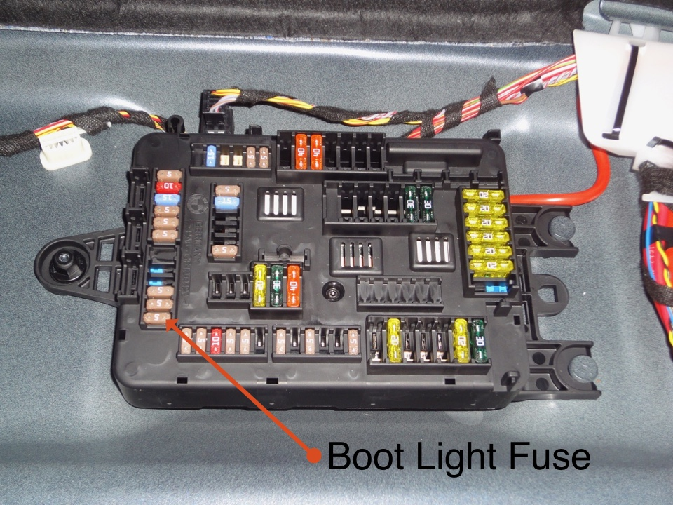 bmw 1 series f20 boot light fuse richard willis owen just remove the labelled fuse for reference it is position 153 and the boot light will go out
